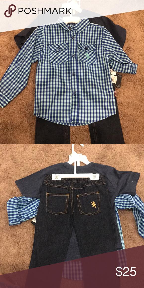 English Laundry 3 Piece Set Blue Button Up Shirt Grey T Shirt