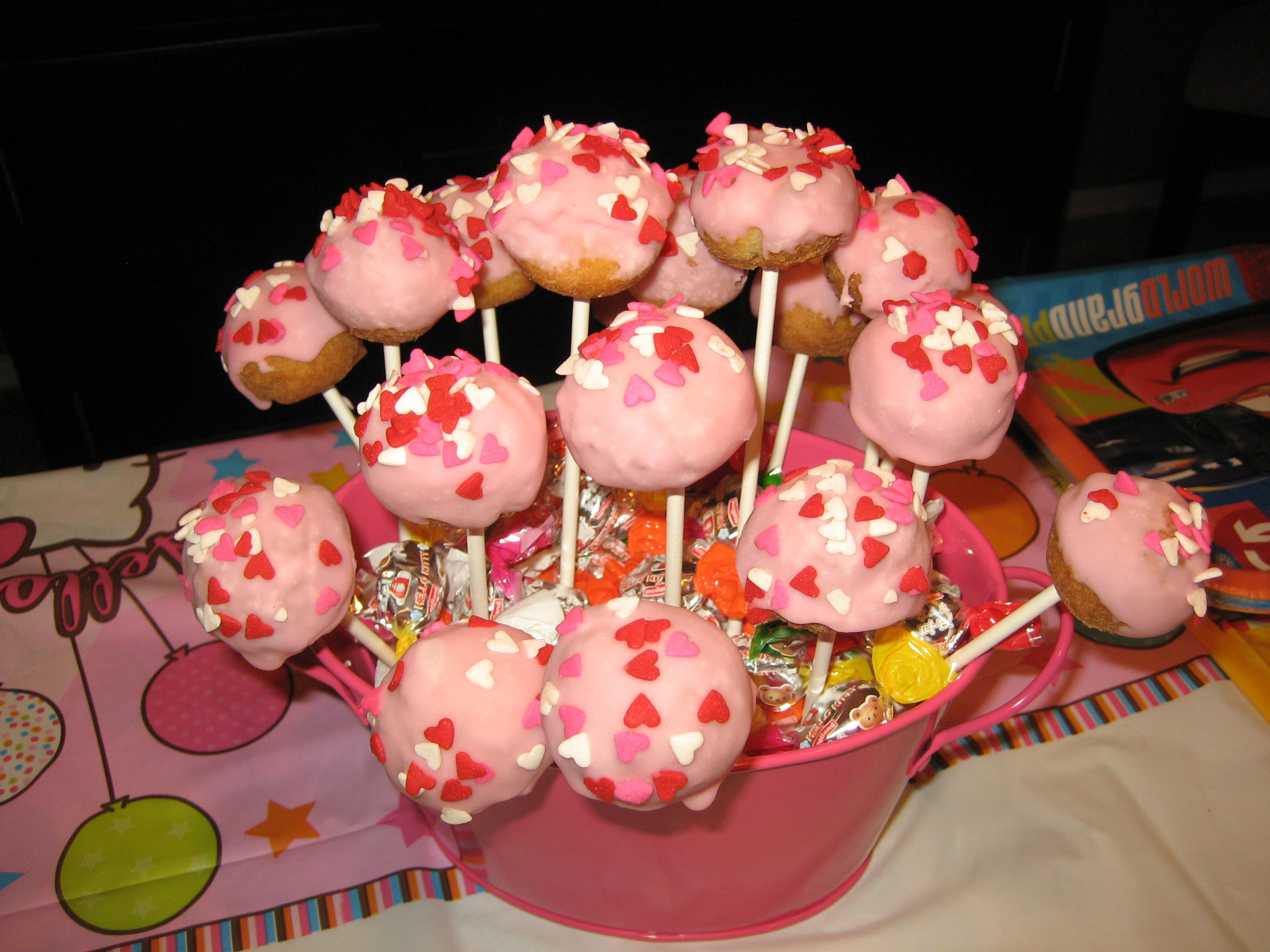 Cake pops donut holes from dunkin donuts frosting and