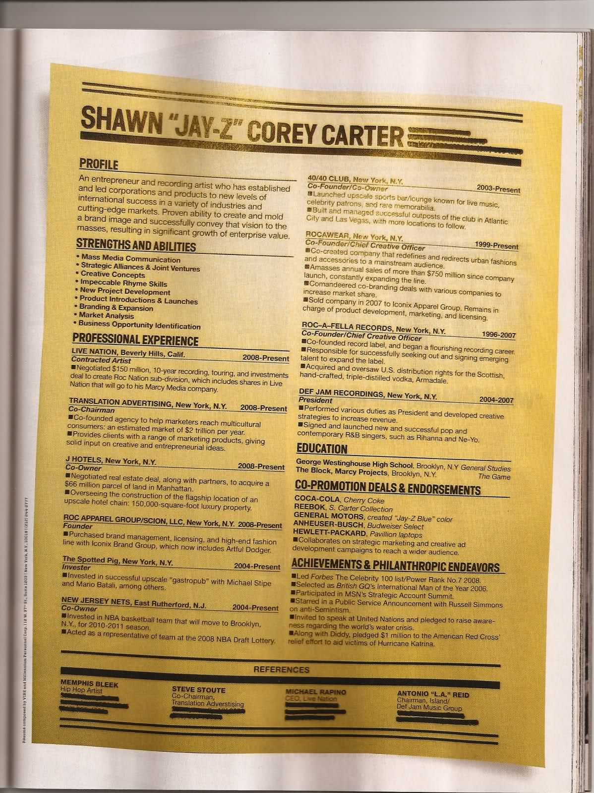 jay zs resume write best resume ever - The Best Resume Format Ever