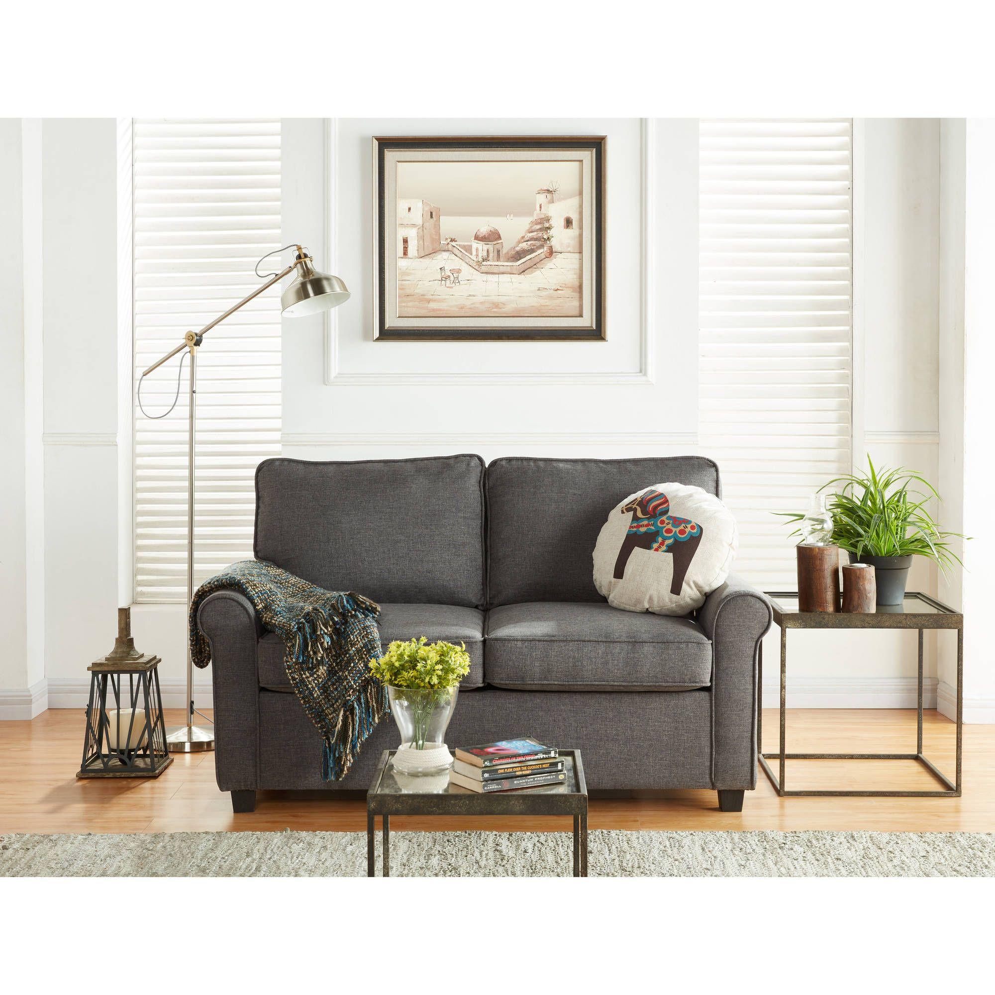 Mainstays Sofa Sleeper With Memory Foam Mattress Grey At