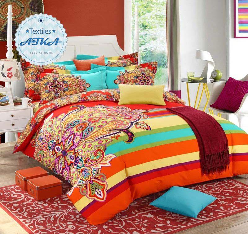 brushed cotton bohemian bedding sets 4pcs queen king duvet cover set bedlinen bedclothes beautiful bedding
