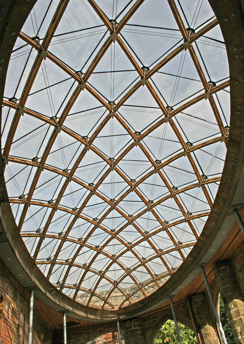 The completed gridshell from below.
