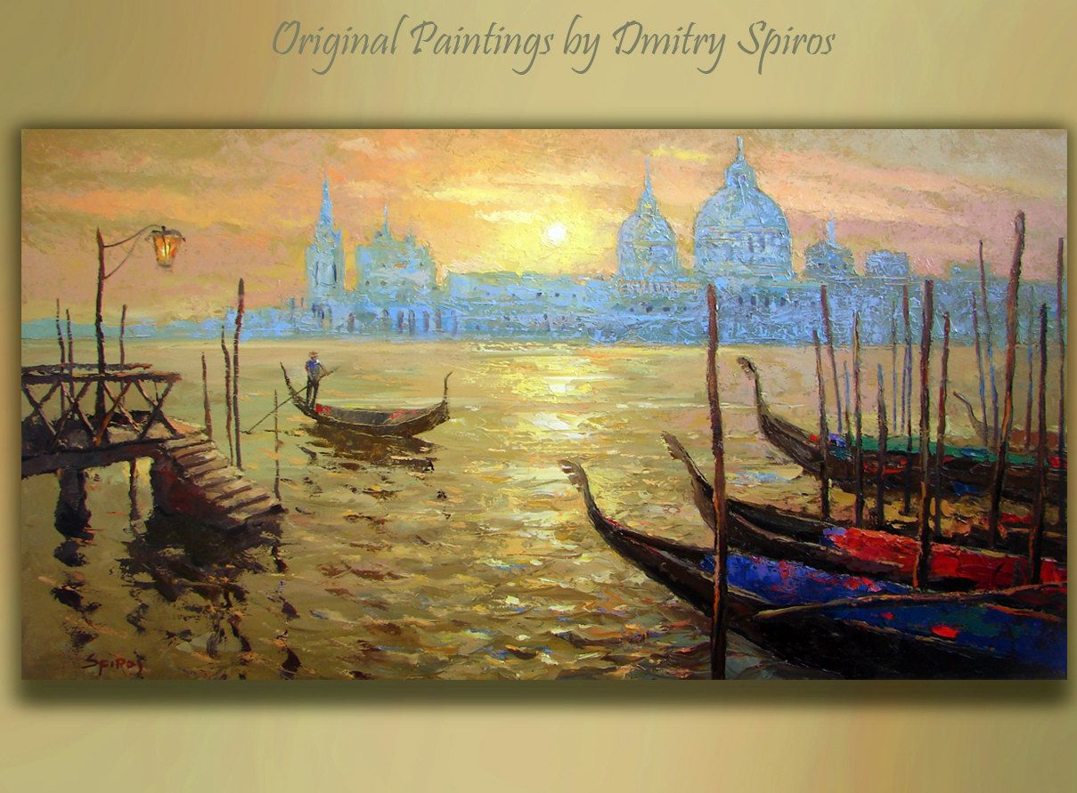 Original Art Sunset in Venice Landscape by spirosart on Etsy ...