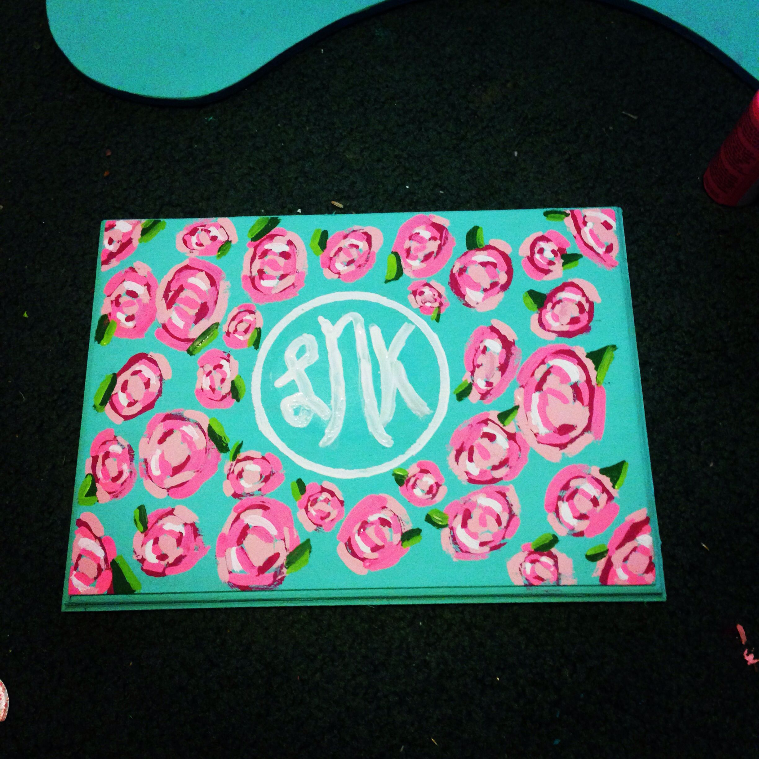 Lilly pulitzer monogram plaque for dorm room | Monogrammed ...