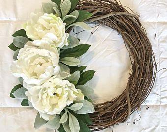 Photo of SALE Peony Wreath, Pink Peony & Rose Wreath, Farmhouse wreath, Wedding Bouquet Wreath, Queen Anne's lace, lambs ears