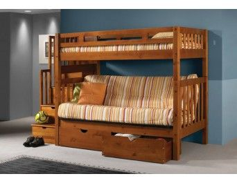 Tall Twin Over Full Futon Mission Honey Stairway Bunk Bed With