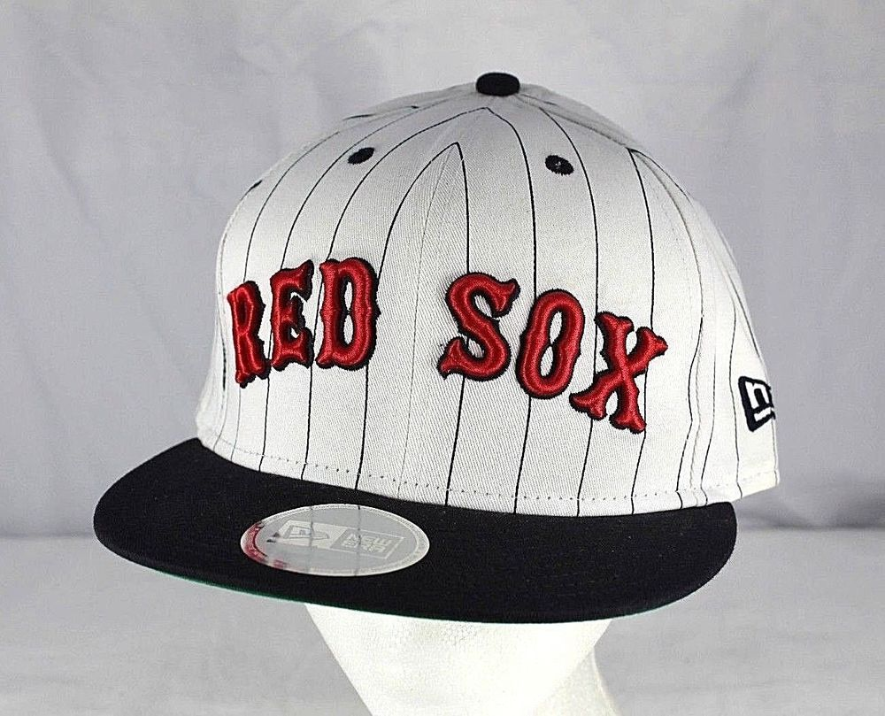 Boston Red Sox White Black Mlb Baseball Cap Snapback Nwt Newera