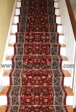 Stair Runner Installation With Decorative Hardware A Straight   Cheap Carpet Runners For Stairs   Wooden Stairs   Stair Railing   Hallway Carpet   Staircase Remodel   Painted Stairs