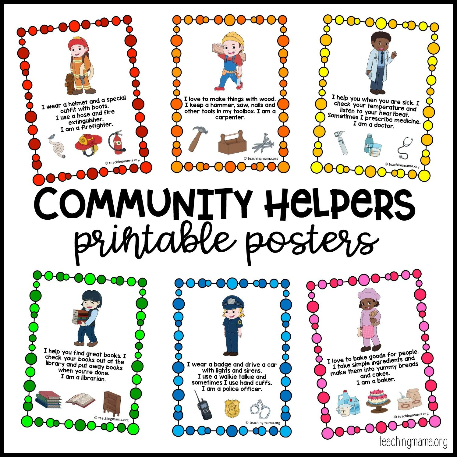 Community Helpers Printable Posters