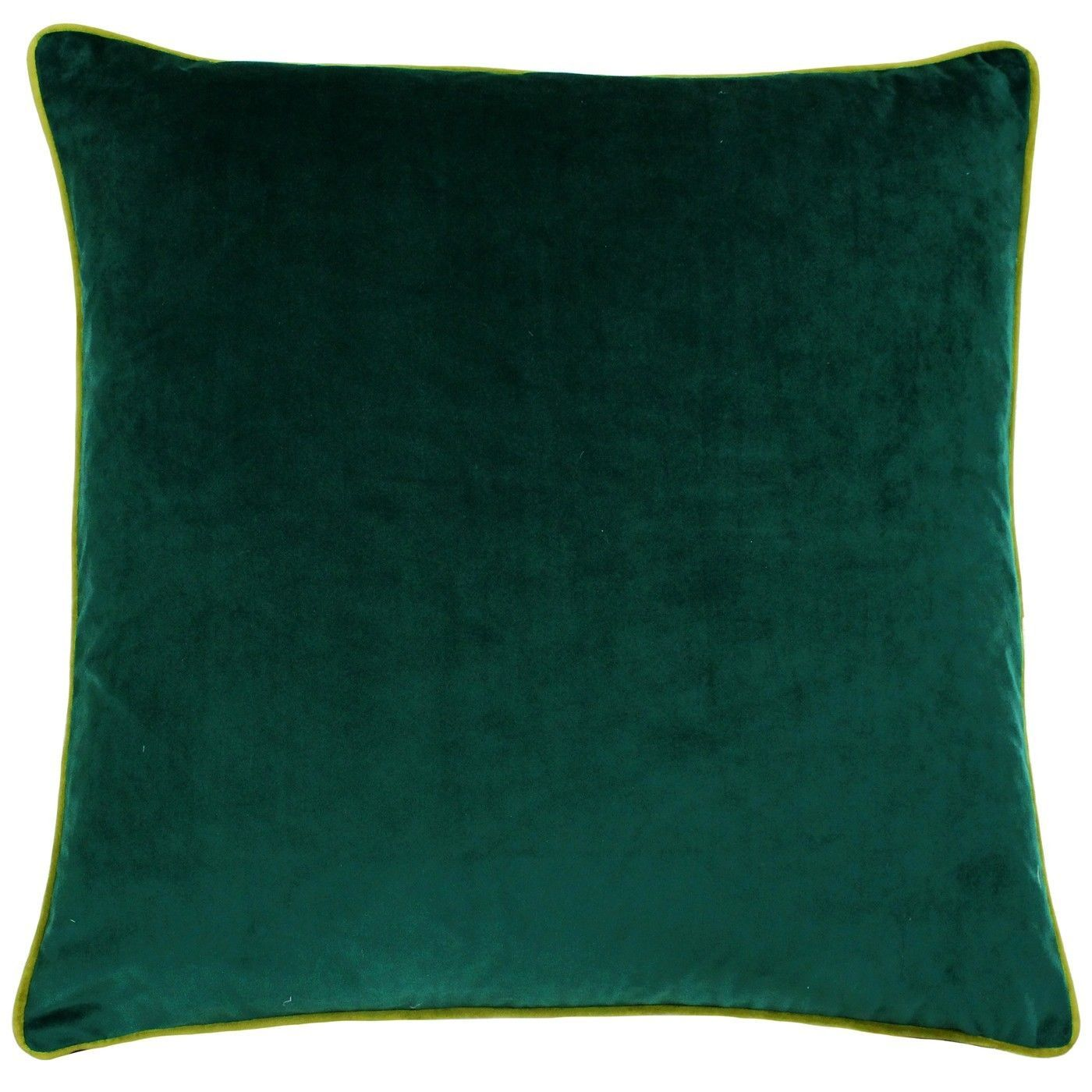 Large velvet feel cushion cover emerald green with moss green piped