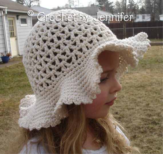 Crochet Pattern for Ava Sun Hat - Floppy Brim hat - 7 sizes, baby to large ad...