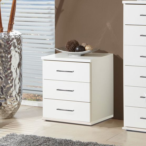 Florence 3 Drawer Bedside Cabinet In White With Diamante 011317 Stuff To Pinterest Scandi Bedroom And Drawers