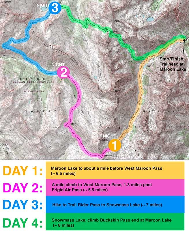 Four Pass Loop with Counter-Clockwise Color Coded Map | Backpacking