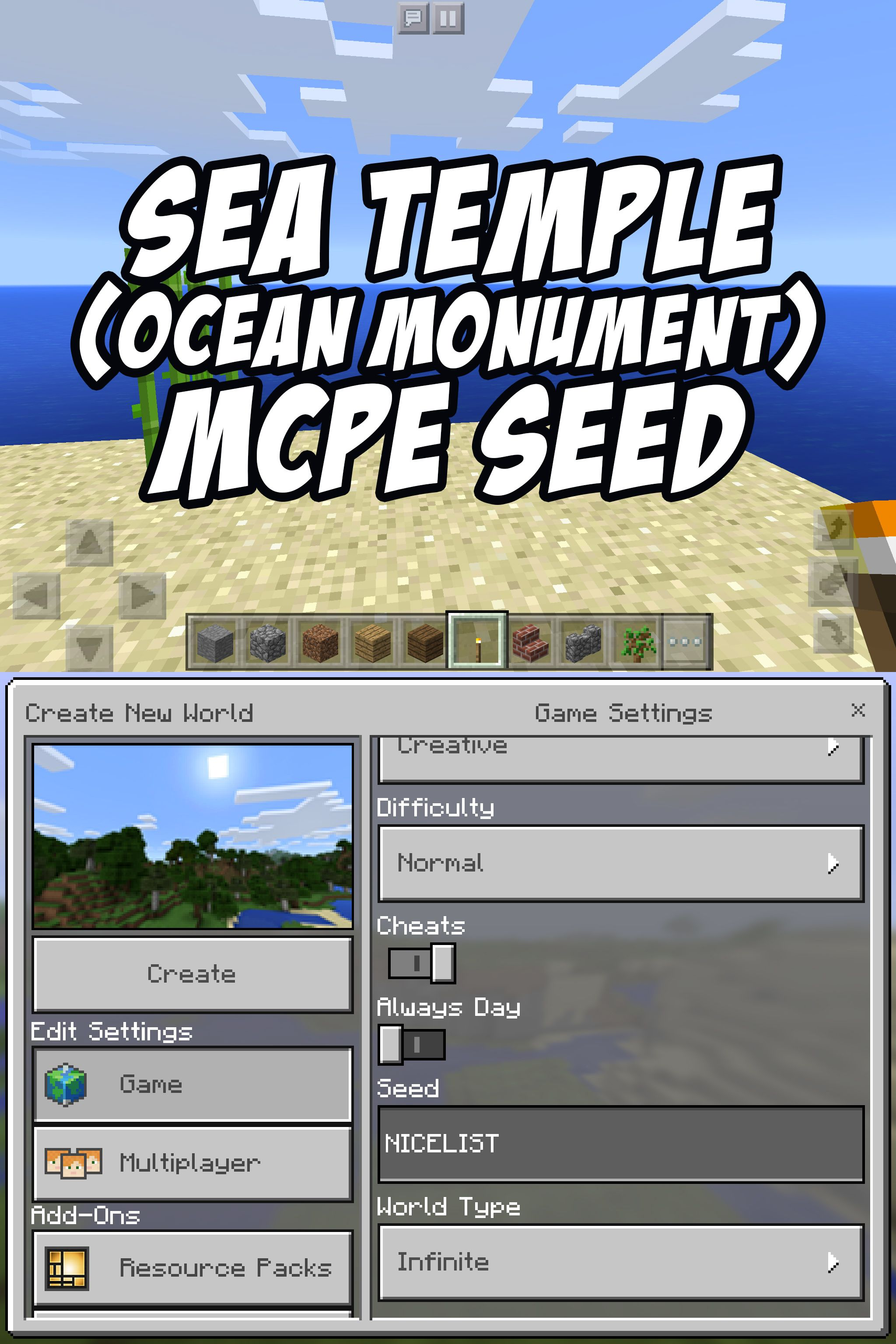 . Ocean Monument Sea Temple Seed for Minecraft Pocket Edition