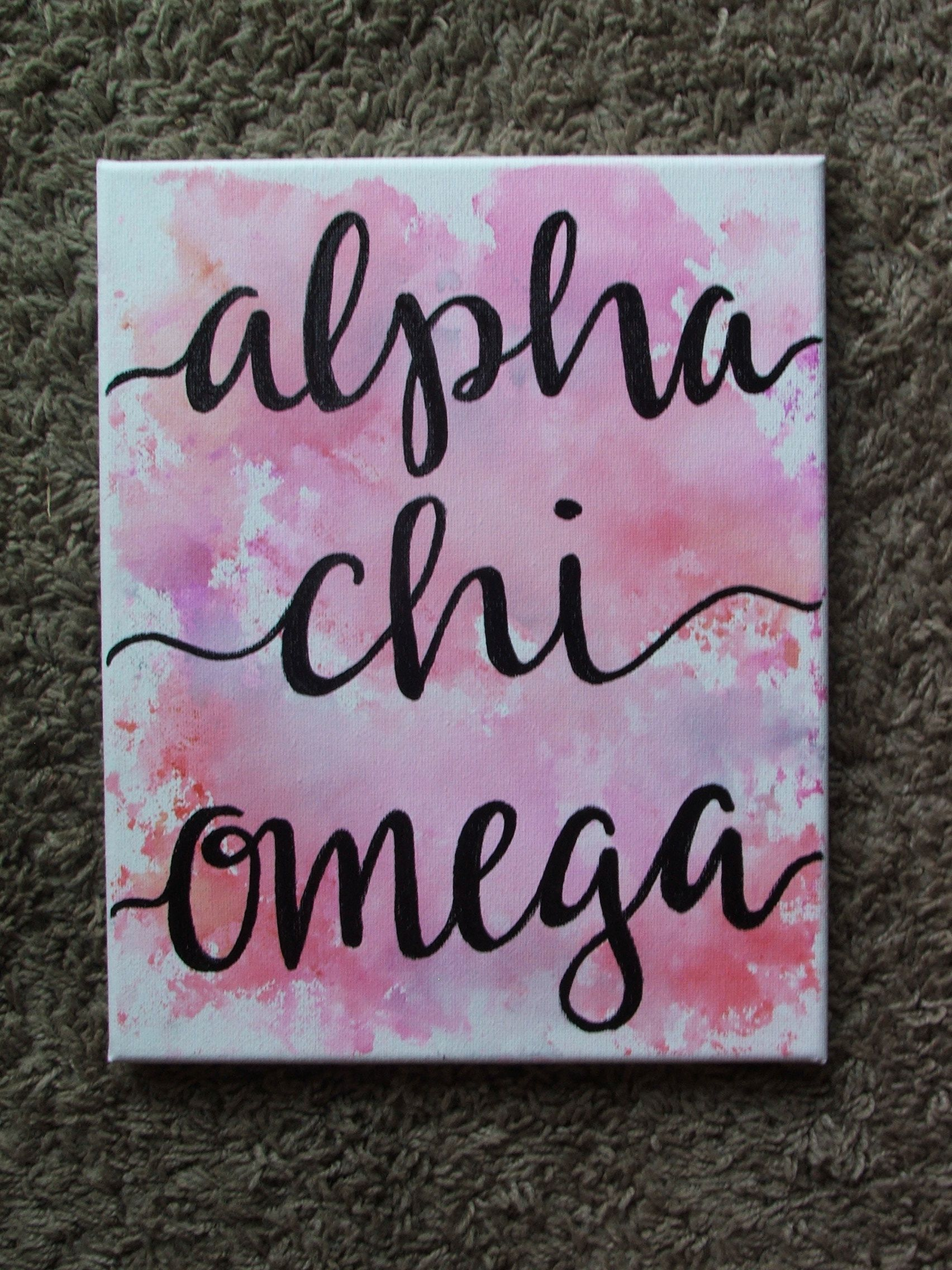 watercolor sorority canvas -- AXO -- Alpha chi omega Can be customized with any colors and any sorority! Check out my IG, FB, or etsy (@craftsbySM) to place an order! #biglittlecanvas