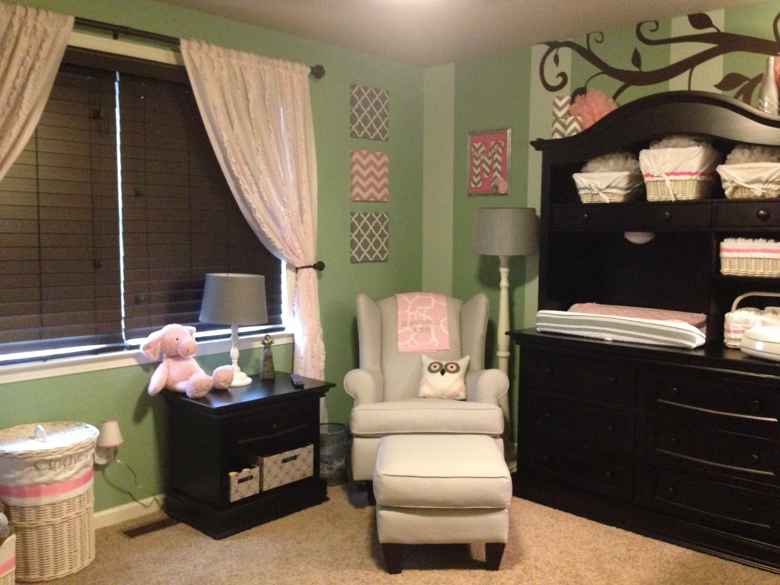 Baby Girl Room - Green Walls with Pink & Gray accents | Girl Themed ...