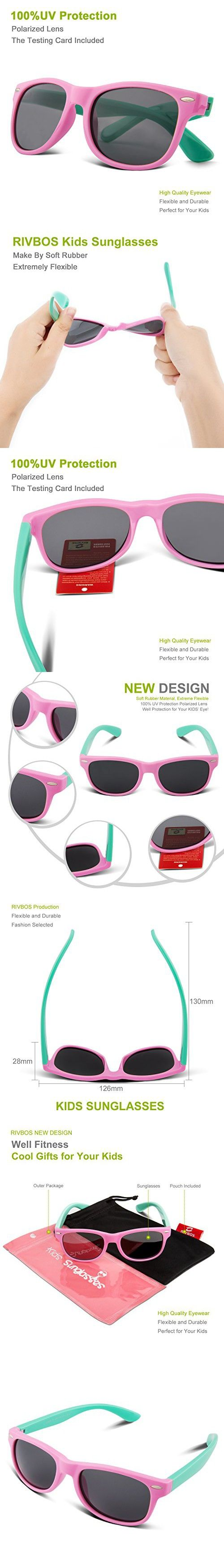 e71fa3bcee RIVBOS RBK004 Rubber Flexible Kids Polarized Sunglasses Age 3-10 (W Pink)