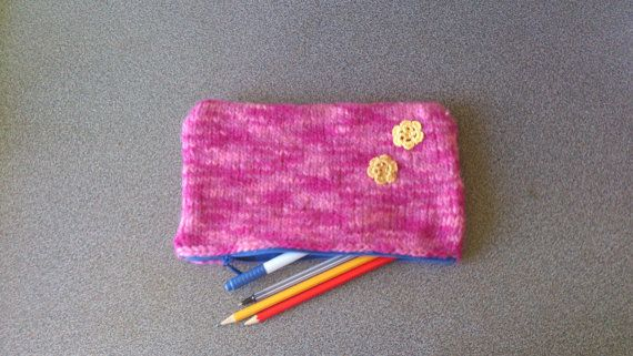 CIJ Free shipping Large pencil case in pink back by FeltedByRikke, $24.75