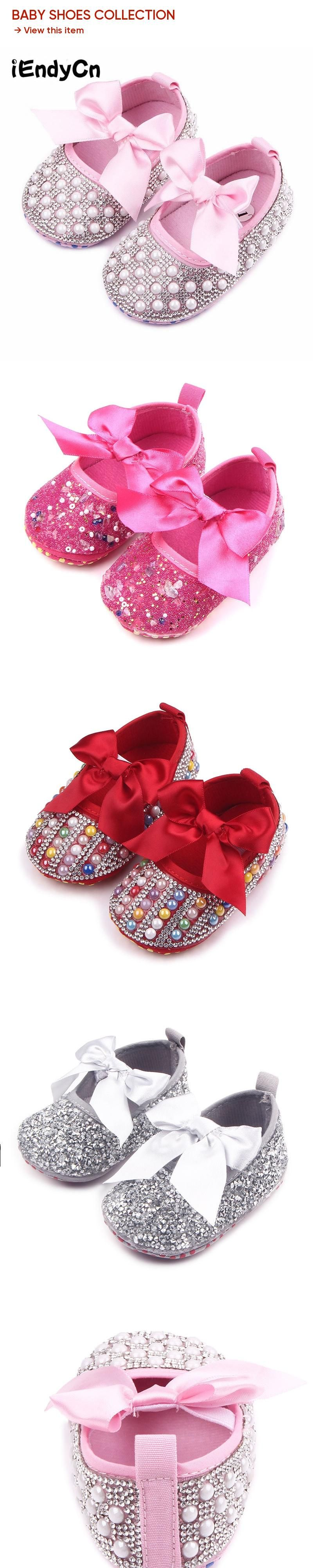 2017  New Bow Princess Shoes Baby Soft Bottom School Shoes 0-1 year old Female Spring and Autumn Baby Shoes YD206