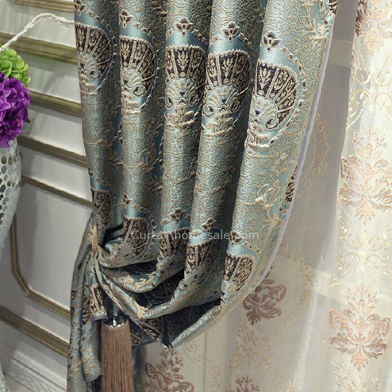 Luxury Gray Polyester Jacquard And Embossed Privacy Living Room Curtain