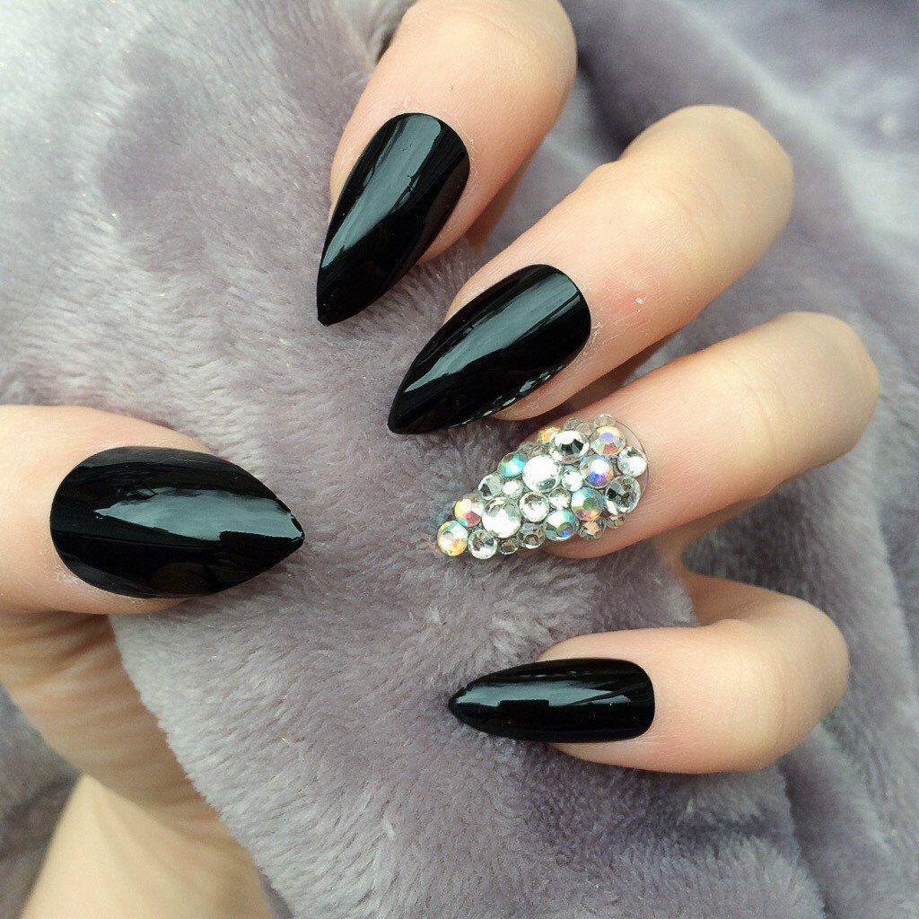 Doobys Stiletto Nails - Black Gloss Ring Finger Swarovski - 24 Claw ...