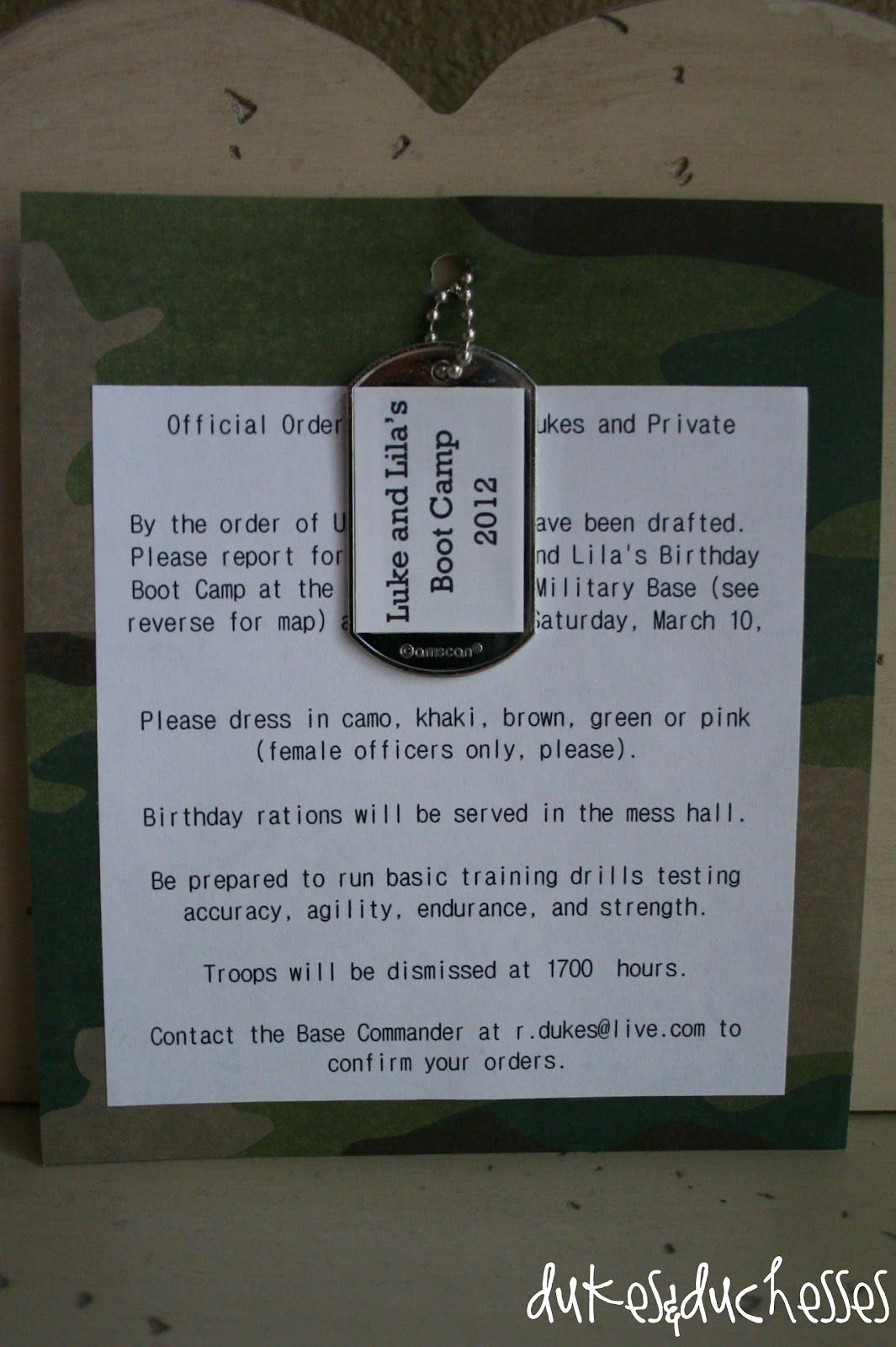 camo birthday party ideas | We sent invitations with personalized dog tags …