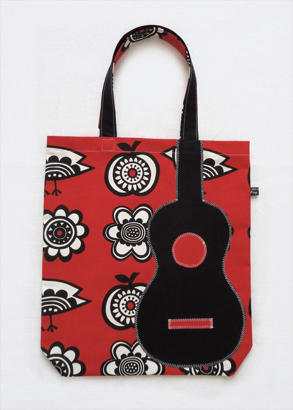 uke appliqué Red bag fabric by Arch black birds in Ivy apples tote with amp; ukulele qSSPf