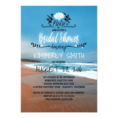 Blue Beach Bridal Shower Card