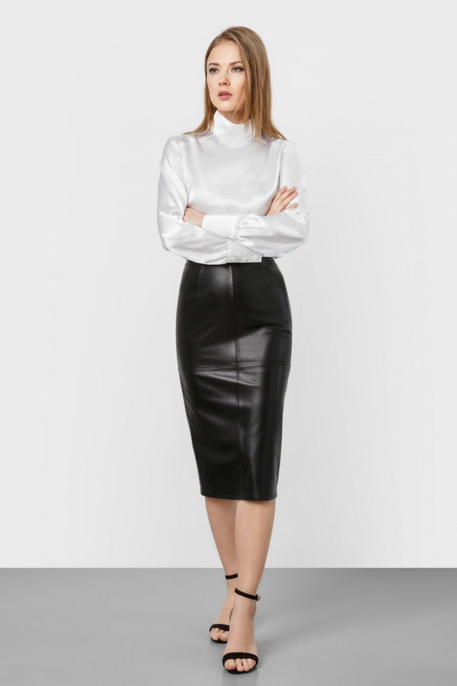 a2673012c0 White satin long sleeve blouse with black leather skirt | leather ...