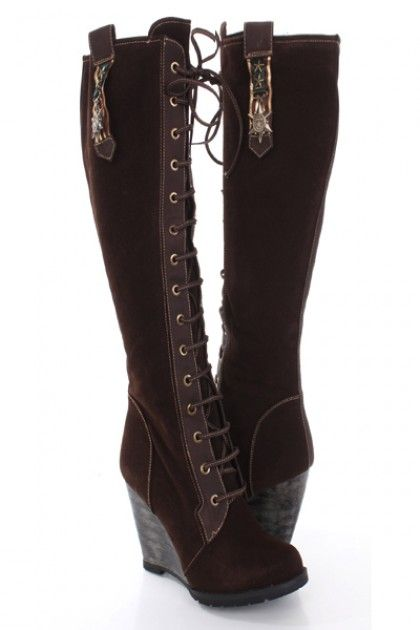 Brown Faux Suede Laced Up Knee High Wedge Boots / Sexy Clubwear | Party  Dresses | Sexy Shoes | Womens Shoes and Clothing