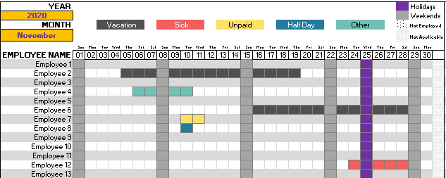 Leave Tracker Employee Vacation Tracker Excel Template 2020 Vacation Excel Templates Vacation Calendar