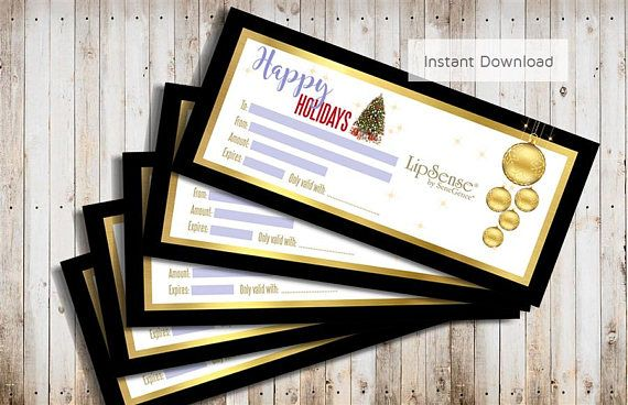 lipsense christmas gift certificate instant download senegence