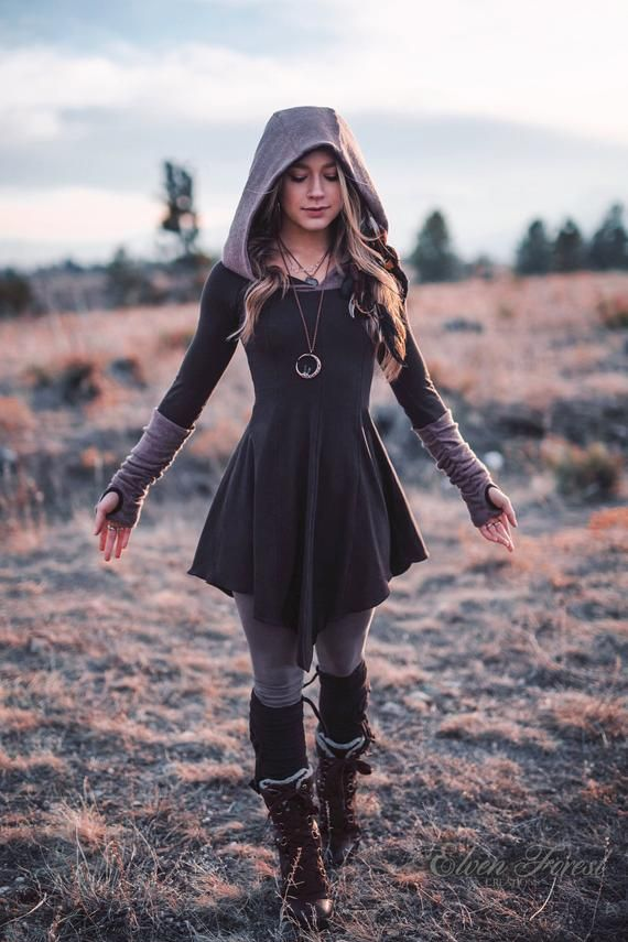 Photo of Sweater Warmer Dress ~ Structured Hood with arm warmers and thumbholes ~ Elven Forest ~ Winter Dress