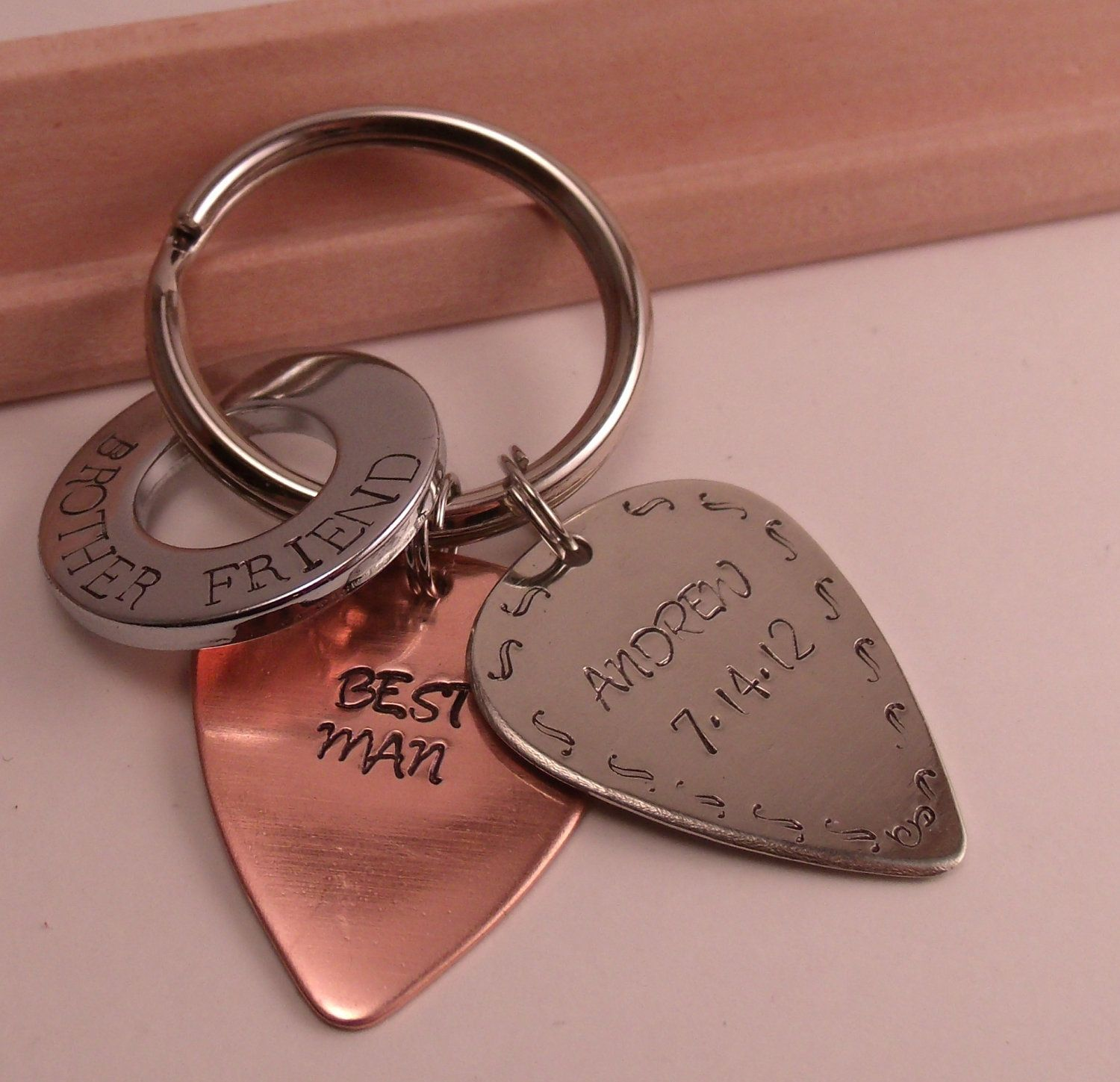 Keychain-two guitar picks and large chrome washer-men-dad-groom-best ...