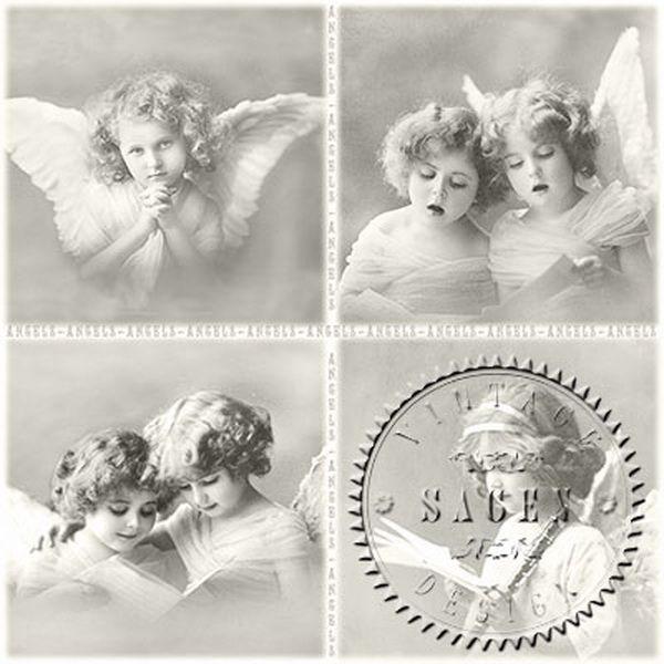 первый выбор винтажные картинки для декупажа черно белые ангелы надеемся