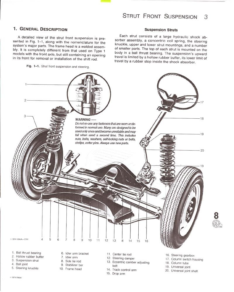 hight resolution of exploded view of a super beetle front end and steering