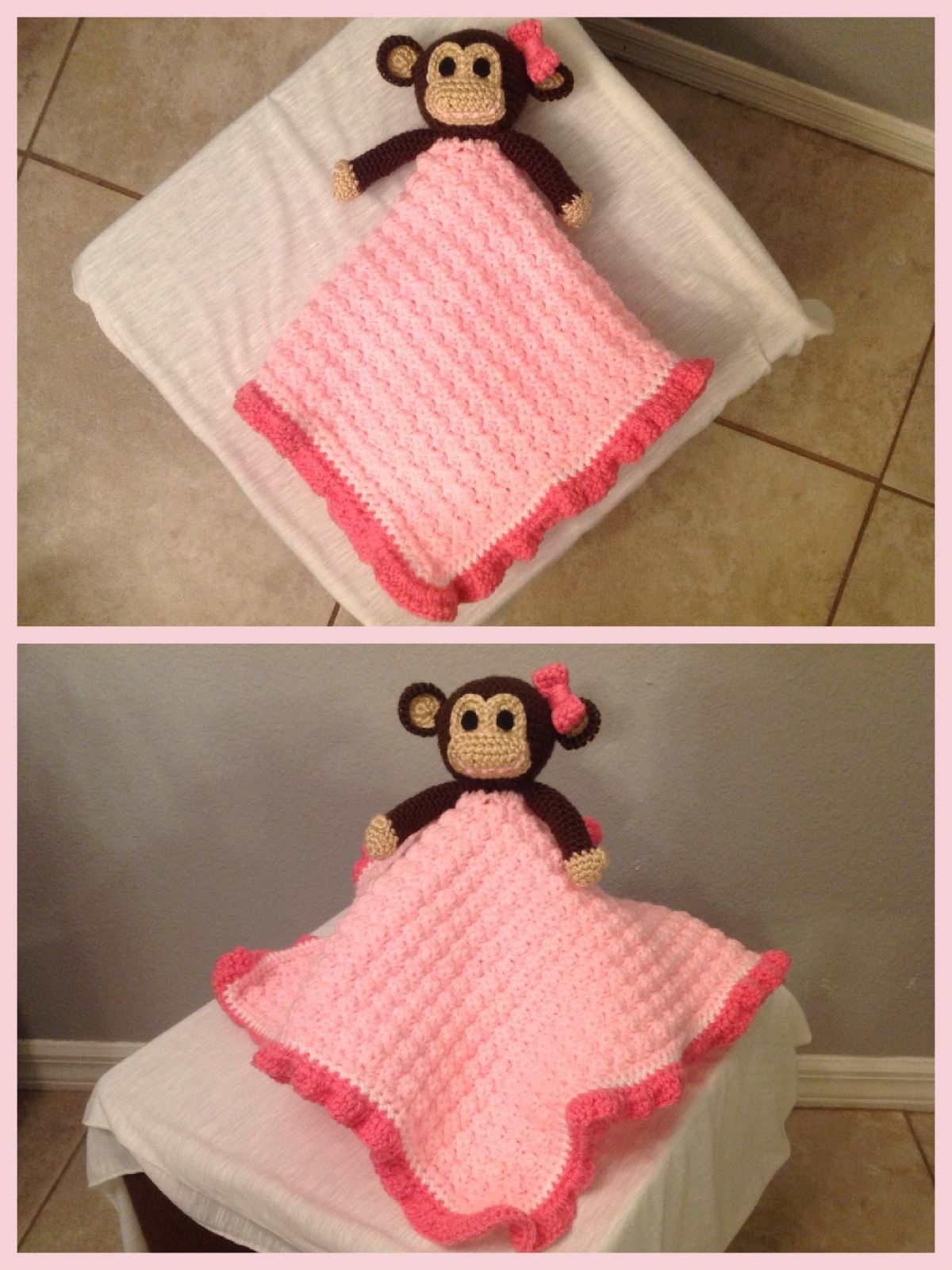 Monkey Lovey Security Blanket. 18x18 inches. Pattern by Janet ...