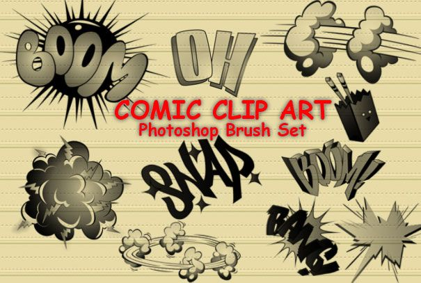 14 Comic Cartoon PS Brushes by ~fiftyfivepixels on