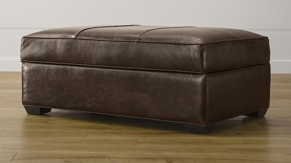 Davis Leather Ottoman And A Half Crate And Barrel Storage Ottoman Shoe Storage Ottoman Leather Storage Ottoman