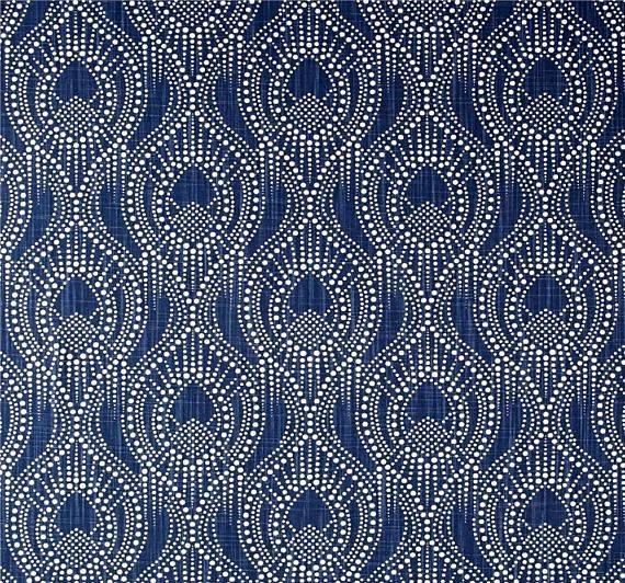 Navy Blue Home Decor Fabric By The Yard Designer Subtle Geometric Fabric Cotton Drapery Curtain Fabric Upholstery Fabric Navy Fabric C754 Fabric Decor Home Decor Fabric Geometric Fabric
