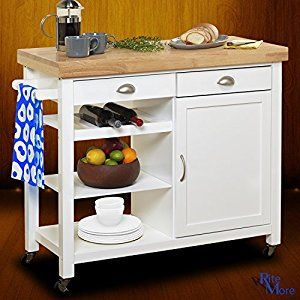 Amazon Com Large White Rolling Movable Kitchen Island On Wheels