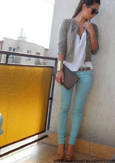 mint skinnies and a neutral jacket