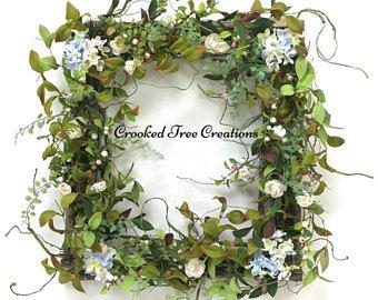 Spring Wreath Hydrangea Wreath Square Wreath Wispy Wreath