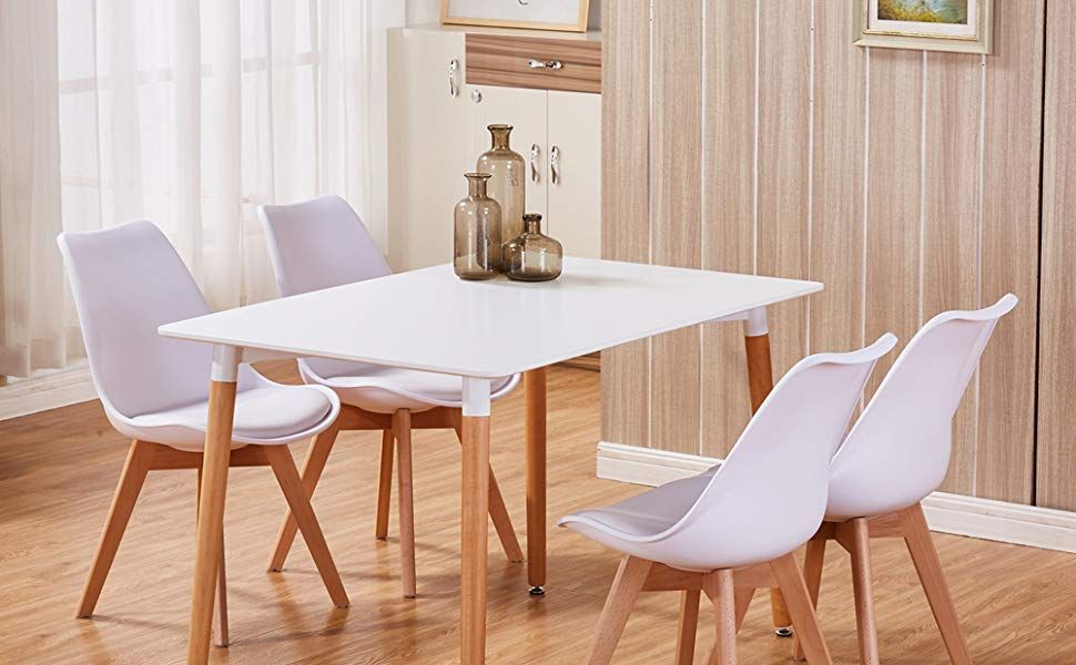goldfan dining table and chairs set 4 modern rectangle table and rh pinterest com