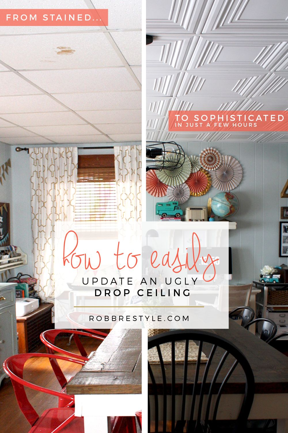 How to easily update an ugly drop ceiling ceilings basements and ceiling ideas dailygadgetfo Images