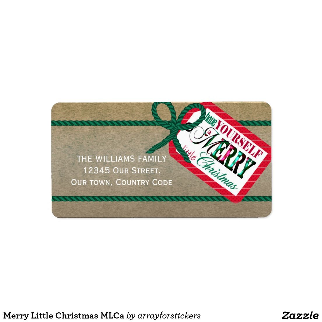 'Merry Little Christmas' Address Label This cute Christmas design features a gift tag reading `Have Yourself a Merry Little Christmas`all wrapped up with green twine on a gold background. Add your name and address using the template provided. Click image to see more products with the same design.