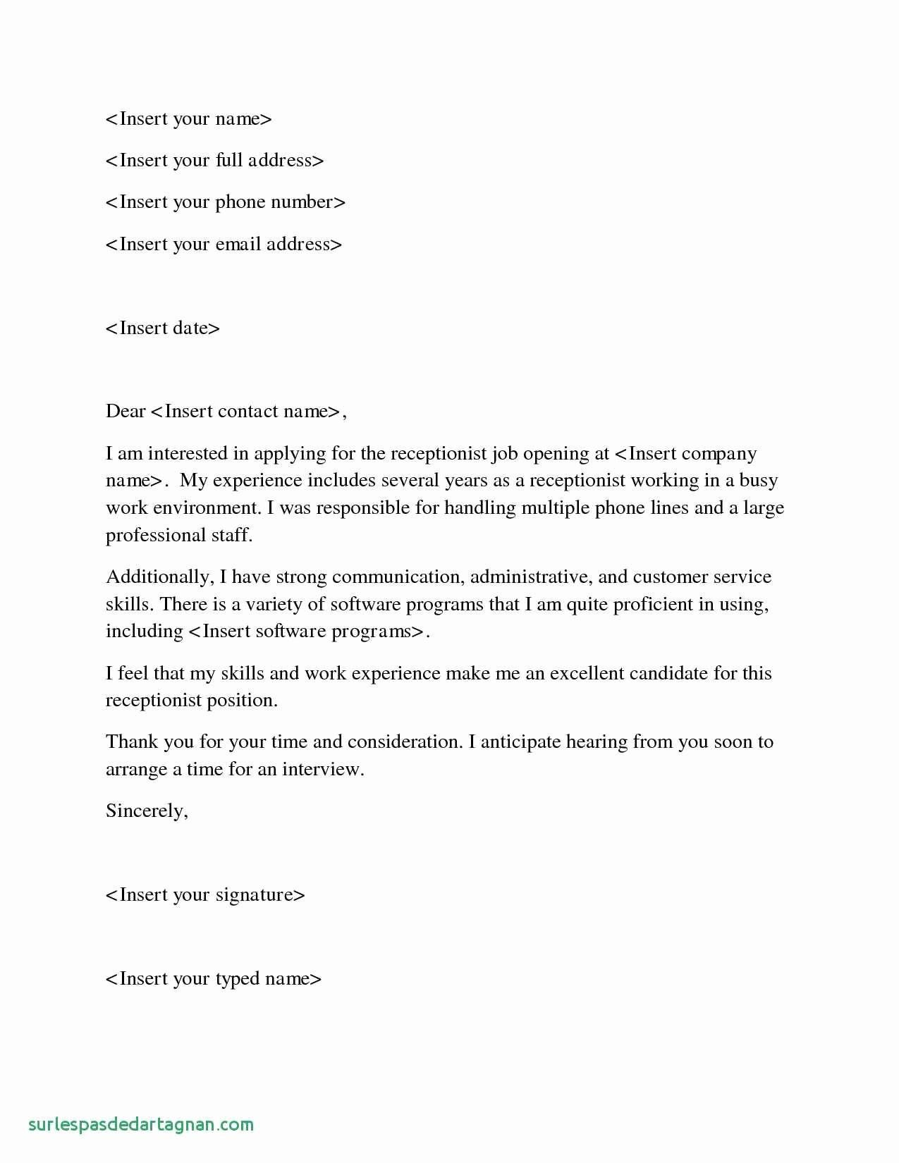 sample cover letter job application receptionist