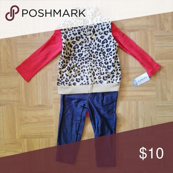 e77fd90f6 New 3 Piece Set Red longsleeve onesie, leopard vest and leggings. Carter's  Matching Sets