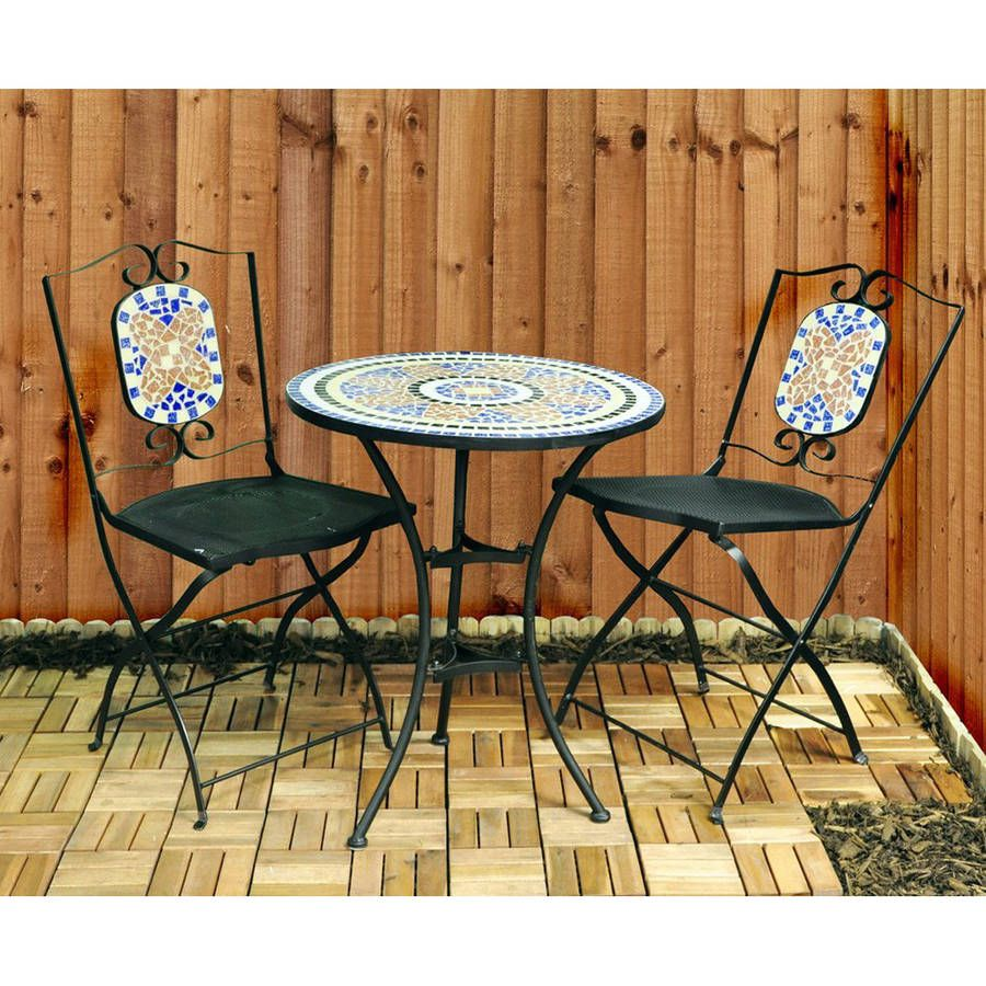 Mosaic Bistro Cafe Table 60cm Set of 2 Chairs Garden Patio Balcony Furniture Set