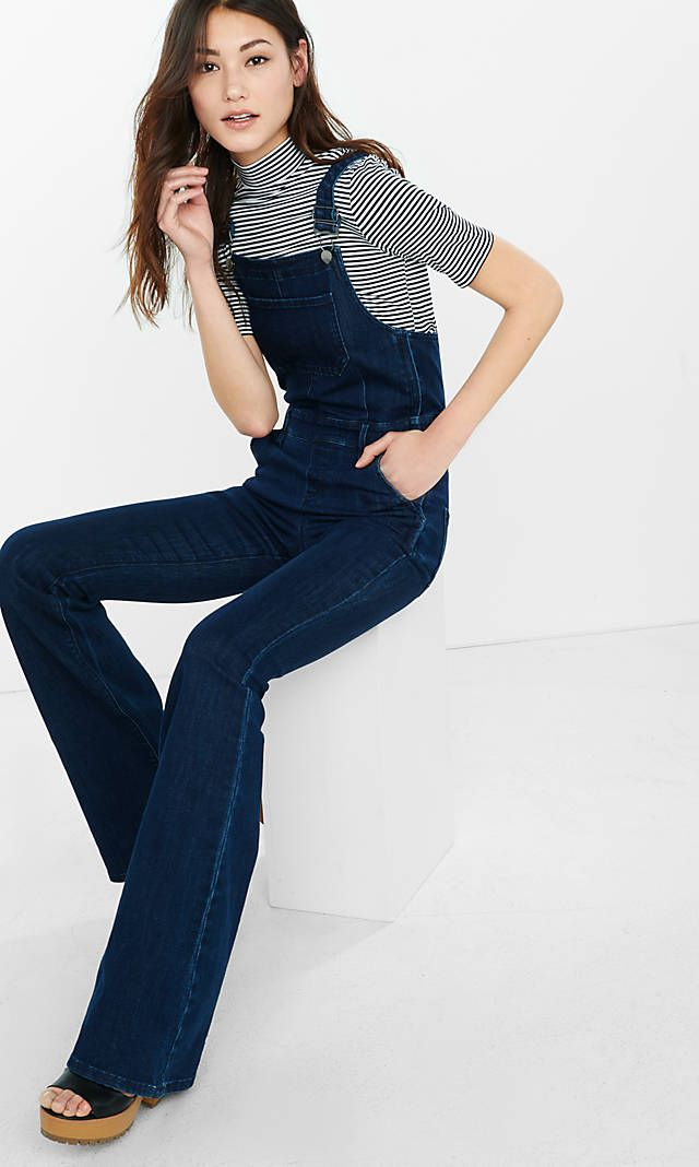 hot-selling newest pretty cheap authentic Dark Blue Denim Flare Overalls | Express | Apparel in 2019 ...